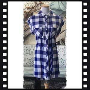 Rails Blue/White Plaid Shirt Dress Size XS